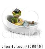3d French Springer Frog Sitting In A Bath Tub And Wearing A Duck Inner Tube