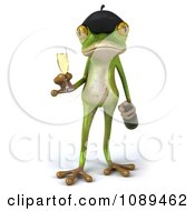 Clipart 3d French Springer Frog Holding A Champagne Glass And Bottle Royalty Free Vector Illustration
