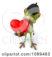 Clipart 3d French Springer Frog Holding A Love Heart Royalty Free Vector Illustration