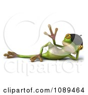 Clipart 3d Relaxed French Springer Frog Waving Royalty Free Vector Illustration