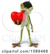 Clipart 3d French Springer Frog Holding A Valentine Heart Royalty Free Vector Illustration