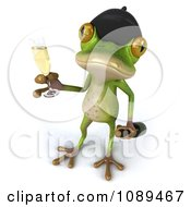 Clipart 3d French Springer Frog Toasting With A Champagne Glass And Bottle Royalty Free Vector Illustration