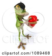 Clipart 3d French Springer Frog Holding A Red Heart Royalty Free Vector Illustration