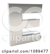 Clipart Capital Stainless Steel Letter E Royalty Free CGI Illustration