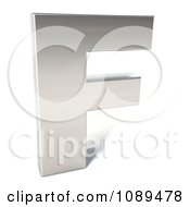 Clipart Capital Stainless Steel Letter F Royalty Free CGI Illustration