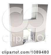 Clipart Capital Stainless Steel Letter H Royalty Free CGI Illustration