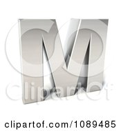 Clipart Capital Stainless Steel Letter M Royalty Free CGI Illustration