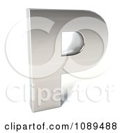 Clipart Capital Stainless Steel Letter P Royalty Free CGI Illustration by Julos