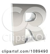 Clipart Capital Stainless Steel Letter R Royalty Free CGI Illustration