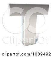 Clipart Capital Stainless Steel Letter T Royalty Free CGI Illustration