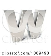 Clipart Capital Stainless Steel Letter W Royalty Free CGI Illustration
