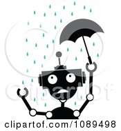 Clipart Black And White Robot With A Tiny Umbrella In The Rain Royalty Free Vector Illustration