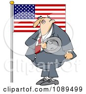 Clipart Man Pledging His Allegiance To The American Flag Royalty Free Vector Illustration