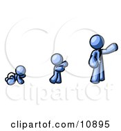 A Blue Person In His Growth Stages Of Life As A Baby Child And Adult Clipart Illustration