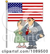 Woman And Man Pledging Their Allegiance To The American Flag