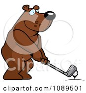 Clipart Golfing Bear Holding The Club Against The Ball On The Tee Royalty Free Vector Illustration by Cory Thoman