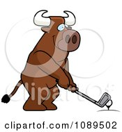 Clipart Golfing Bull Holding The Club Against The Ball On The Tee Royalty Free Vector Illustration by Cory Thoman