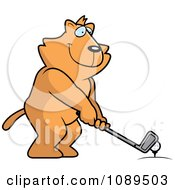 Clipart Golfing Cat Holding The Club Against The Ball On The Tee Royalty Free Vector Illustration by Cory Thoman