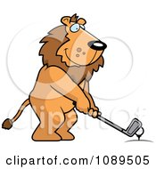 Clipart Golfing Lion Holding The Club Against The Ball On The Tee Royalty Free Vector Illustration by Cory Thoman