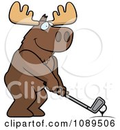 Clipart Golfing Moose Holding The Club Against The Ball On The Tee Royalty Free Vector Illustration by Cory Thoman