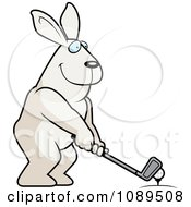 Clipart Golfing Rabbit Holding The Club Against The Ball On The Tee Royalty Free Vector Illustration by Cory Thoman