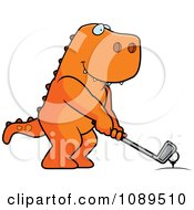 Clipart Golfing T Rex Holding The Club Against The Ball On The Tee Royalty Free Vector Illustration by Cory Thoman