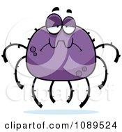 Clipart Sad Purple Spider Royalty Free Vector Illustration