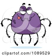 Clipart Drunk Purple Spider Royalty Free Vector Illustration by Cory Thoman