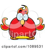 Clipart Chubby Shocked Phoenix Fire Bird Royalty Free Vector Illustration