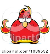 Clipart Chubby Bored Phoenix Fire Bird Royalty Free Vector Illustration