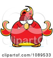 Clipart Chubby Drunk Phoenix Fire Bird Royalty Free Vector Illustration