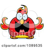 Clipart Chubby Grinning Phoenix Fire Bird Royalty Free Vector Illustration