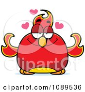 Clipart Chubby Infatuated Phoenix Fire Bird Royalty Free Vector Illustration
