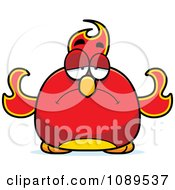 Clipart Chubby Sad Phoenix Fire Bird Royalty Free Vector Illustration