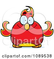 Clipart Chubby Happy Phoenix Fire Bird Royalty Free Vector Illustration by Cory Thoman