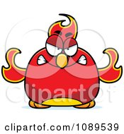 Clipart Chubby Angry Phoenix Fire Bird Royalty Free Vector Illustration