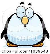 Clipart Chubby Surprised Penguin Royalty Free Vector Illustration
