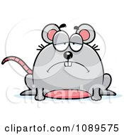 Clipart Chubby Sad Mouse Royalty Free Vector Illustration
