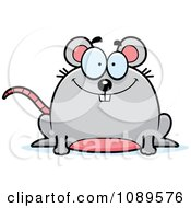 Clipart Chubby Happy Mouse Royalty Free Vector Illustration