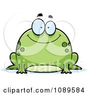 Clipart Chubby Happy Frog Royalty Free Vector Illustration