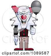 Clipart Demonic Clown Holding A Balloon Royalty Free Vector Illustration