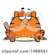 Clipart Chubby Sad Orange Tabby Cat Royalty Free Vector Illustration