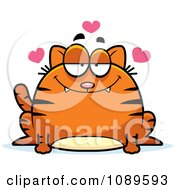 Clipart Chubby Infatuated Orange Tabby Cat Royalty Free Vector Illustration