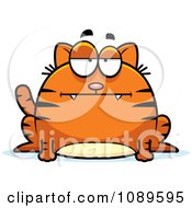 Clipart Chubby Bored Orange Tabby Cat Royalty Free Vector Illustration