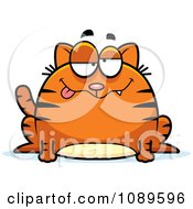 Clipart Chubby Drunk Orange Tabby Cat Royalty Free Vector Illustration