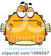 Clipart Chubby Bored Orange Blowfish Royalty Free Vector Illustration by Cory Thoman