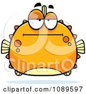 Clipart Chubby Bored Orange Blowfish Royalty Free Vector Illustration