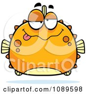 Clipart Chubby Drunk Orange Blowfish Royalty Free Vector Illustration by Cory Thoman