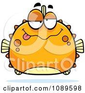 Clipart Chubby Drunk Orange Blowfish Royalty Free Vector Illustration by Cory Thoman
