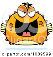 Clipart Chubby Evil Orange Blowfish Royalty Free Vector Illustration